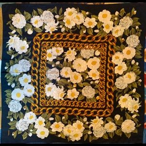 CHANEL vintage silk scarf camellias (Italy)